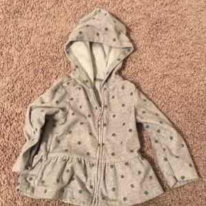 Gray Sparkle Polka Dot Zip Up Hooded Sweatshirt